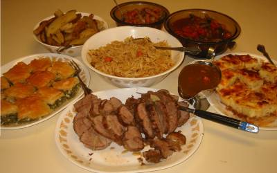 Easter dinner: lamb with orzo, pastitsio, and other food